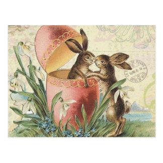 Cartão Postal Coelhinhos da Páscoa do francês do vintage