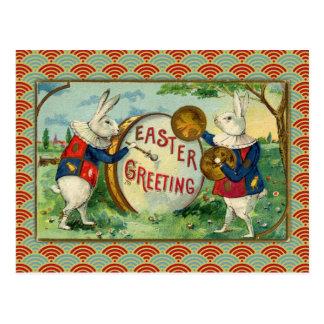 Cartão Postal Coelhinhos da Páscoa do vintage