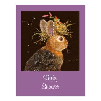 Cartão Postal coelho/cartão cardinal do chá de fraldas