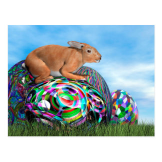 Cartão Postal Coelho em seu ovo colorido para a páscoa - 3D