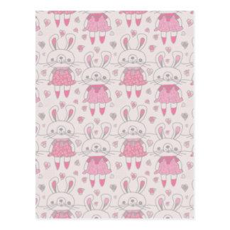 Cartão Postal Coelhos felizes no rosa