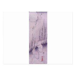 Cartão Postal Coelhos sob a lua por Hiroshige