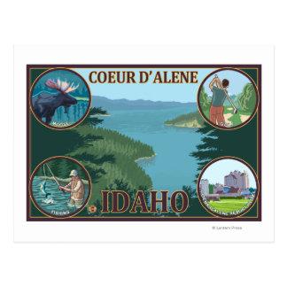 Cartão Postal Coeur D'Alene, poster de viagens de IdahoScenic