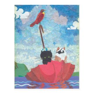 Cartão Postal Colagem da galinha e do grilo