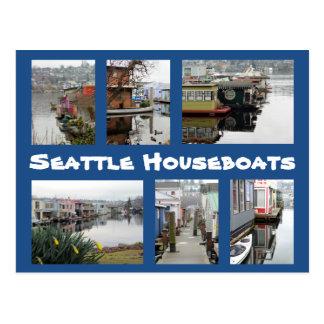 Cartão Postal Colagem das casas flutuantes de Seattle