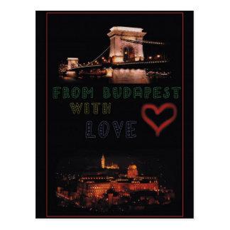 Cartão Postal Colagem de Budapest no fundo preto