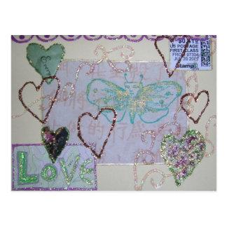 Cartão Postal Colagem do amor do coração do brilho