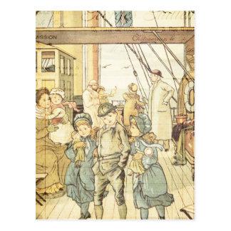 Cartão Postal Colagem do navio do vintage do livro de histórias