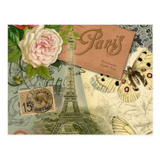 Cartão Postal Colagem do viagem de Paris France da torre Eiffel
