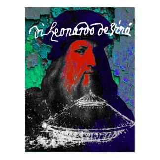 Cartão Postal Colagem dos meios mistos do gênio de Leonardo da