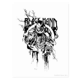 Cartão Postal Colagem gráfica da mão preta 0, preto e branco