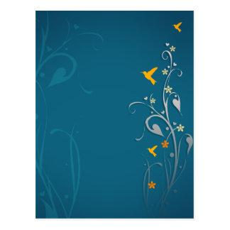 Cartão Postal colibris bonitos e design da flor do redemoinho