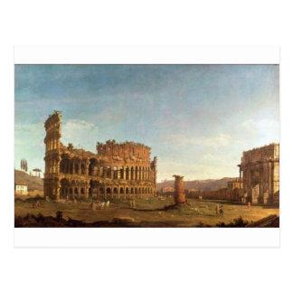 Cartão Postal Colosseum e arco de Constantim (Roma)