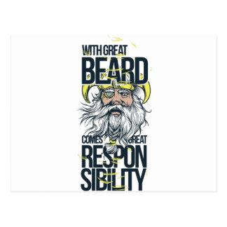 Cartão Postal com grande barba vem a grande responsabilidade
