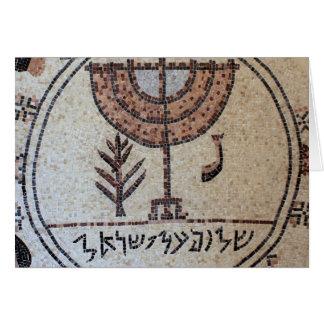 Cartão Postal com Mosaico da Menorah em Israel