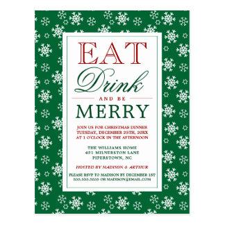 Cartão Postal Coma a bebida & seja flocos de neve alegres do