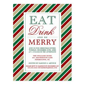 Cartão Postal Coma a bebida & seja listras alegres do Natal de |