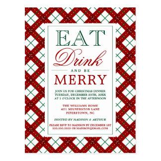 Cartão Postal Coma a bebida & seja xadrez alegre do Natal de |