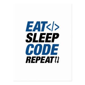 Cartão Postal Coma a repetição do código do sono