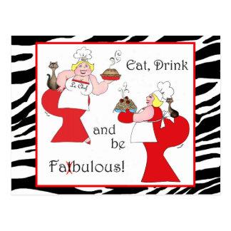 Cartão Postal Coma, bebida e seja Fatbulous!