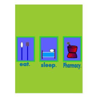 Cartão Postal Coma presentes do farmacêutico da farmácia do sono