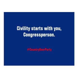 Cartão Postal Começos do civismo com você, Congressperson