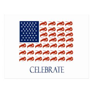 Cartão Postal Comemore a lagosta da bandeira americana