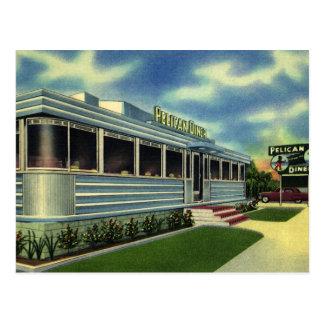 Cartão Postal Comensal retro do pelicano do restaurante do 50