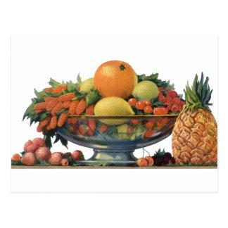 Cartão Postal Comida do vintage, fruta Assorted em uma bacia