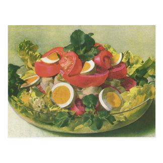Cartão Postal Comida do vintage, salada verde misturada orgânica