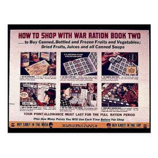 Cartão Postal Como comprar com o livro de ração dois da guerra