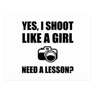 Cartão Postal Como um tiro da fotografia da menina