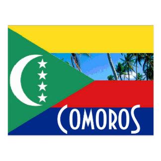 Cartão Postal Cômoros que as ilhas comorenses embandeiram