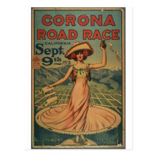 Cartão Postal Competição automóvel da corona - 1913