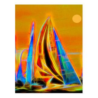 Cartão Postal Competindo veleiros