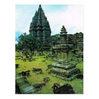 Cartão Postal Complexo do templo de Prambanan, Java, Indonésia