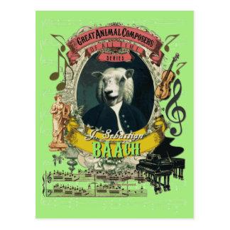 Cartão Postal Compositor animal Bach dos carneiros engraçados de