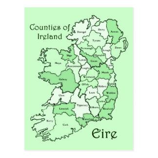 Cartão Postal Condados do mapa de Ireland