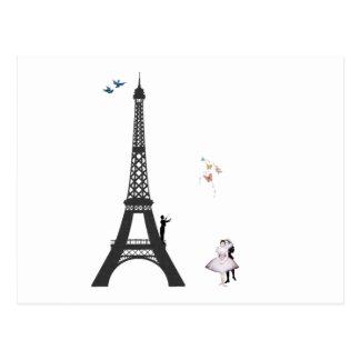 Cartão Postal Condutor e torre Eiffel