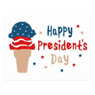 Cartão Postal Cone patriótico do sorvete do Dia do presidente