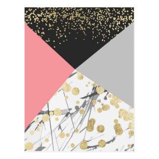 Cartão Postal Confetes modernos do bloco da cor do rosa do ouro