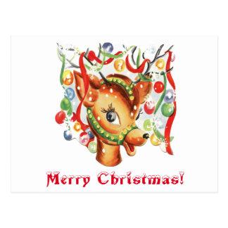 Cartão Postal Confetes retros da rena do Natal do vintage