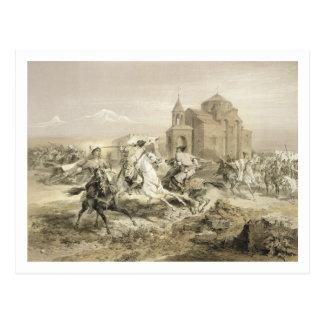 Cartão Postal Conflito dos persas e dos Curdos em Arménia, placa