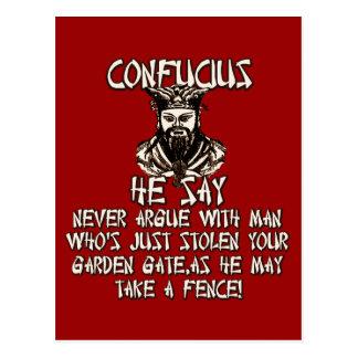Cartão Postal Confucius que engraçado diz
