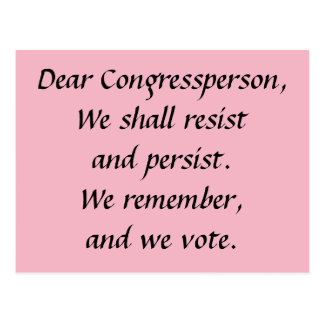 Cartão Postal Congressperson persiste resiste recorda o voto