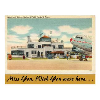 Cartão Postal Connecticut, aeroporto municipal, Hartford