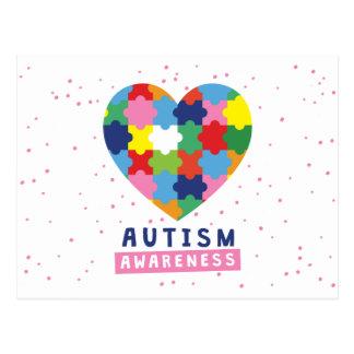 Cartão Postal consciência cor-de-rosa do autismo