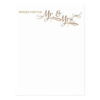 Cartão Postal Conselho do casamento para o Sr. e a Sra. pia