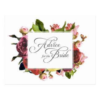 Cartão Postal Conselho floral do rosa do rosa para a noiva