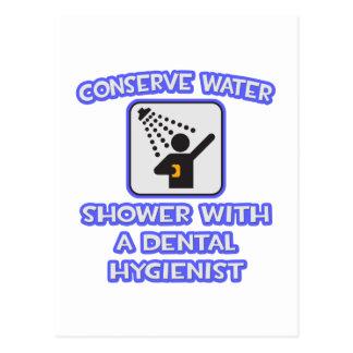 Cartão Postal Conserve a água. Chá com higienista dental